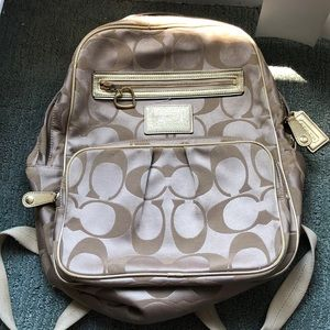 Coach gold backpack